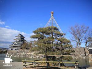 信州・松本城の雪吊り