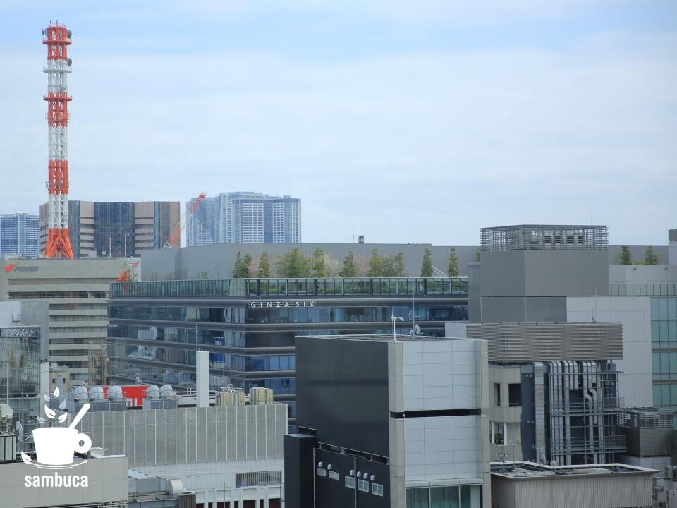 東急プラザ銀座の屋上からの眺め(GINZA SIXガーデン)