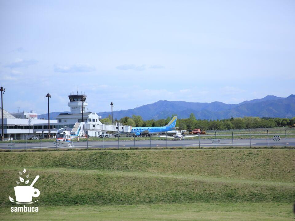 「北アルプスと花の丘」から眺める信州まつもと空港