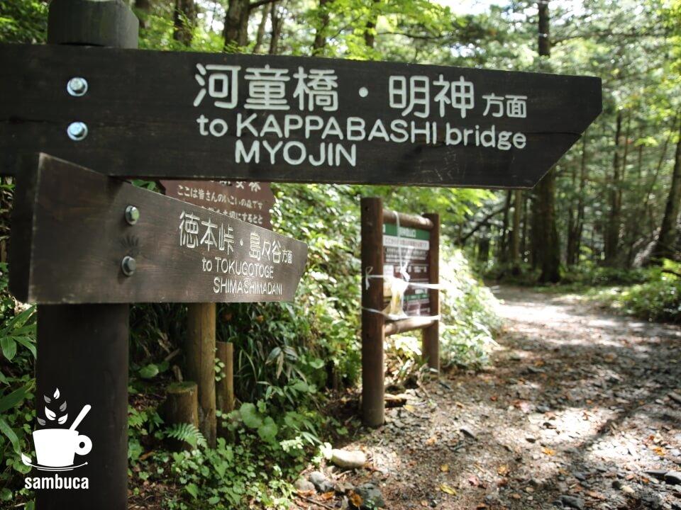 上高地から徳本峠への分岐