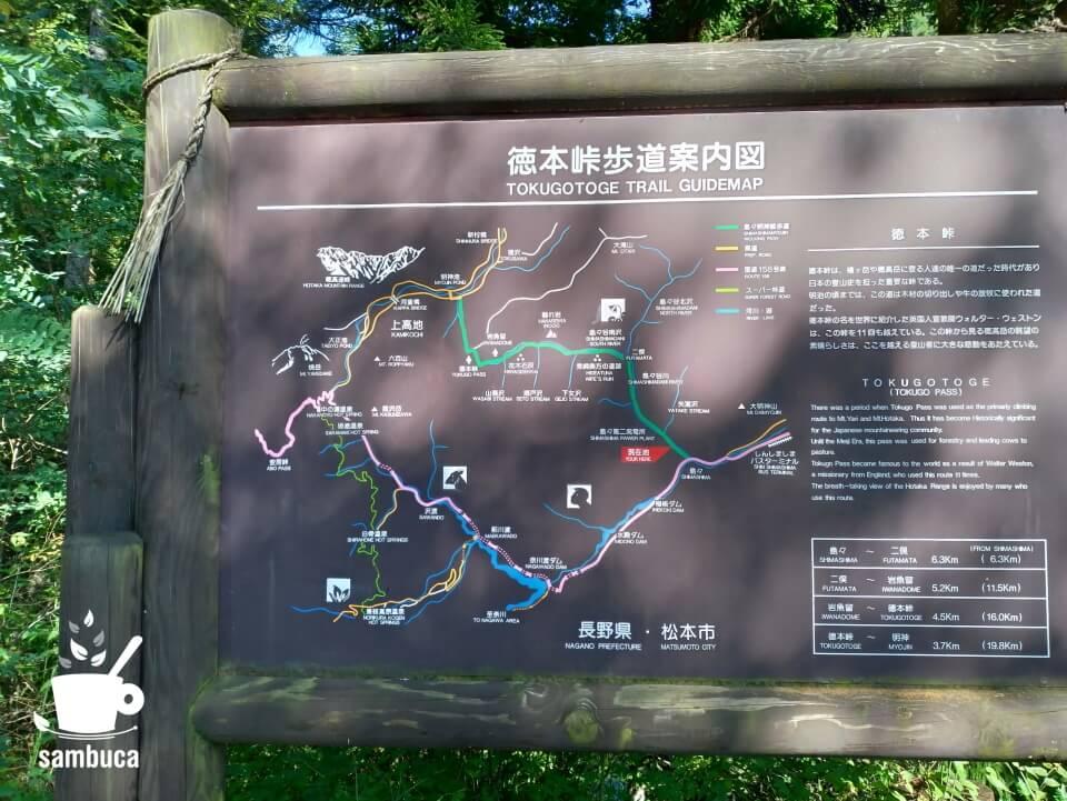 徳本峠歩道案内図