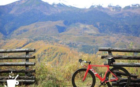 黄葉と乗鞍岳、3Tのロードバイク