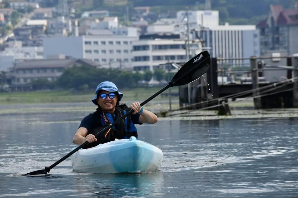 諏訪湖カヤックのツアーで撮っていただいた写真。