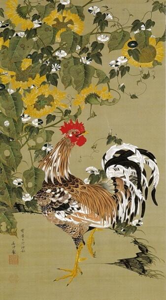 伊藤若冲『向日葵雄鶏図』