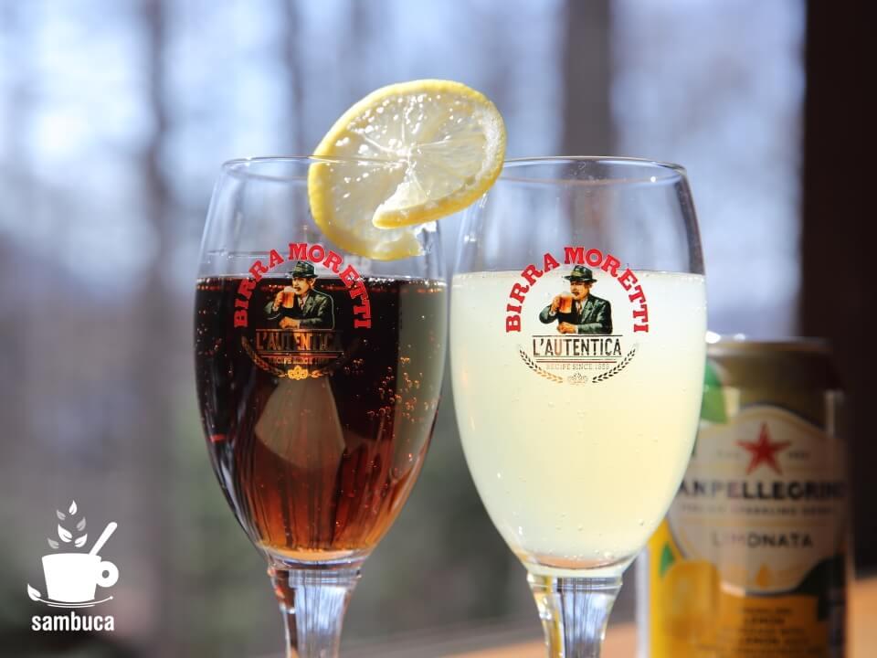 ソフトドリンクにも合う、モレッティビールのグラス