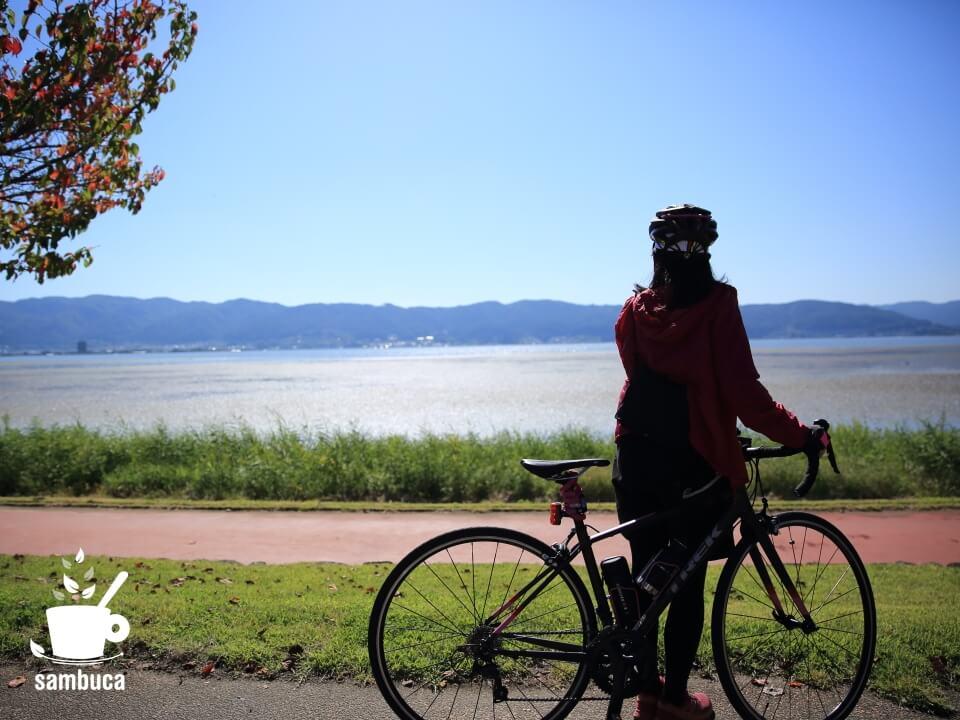 諏訪湖畔をサイクリングしてきました